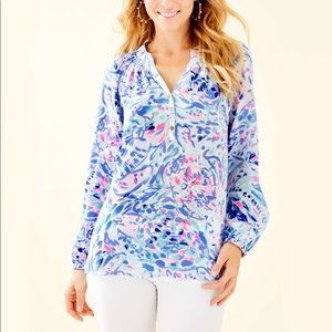 Lilly Pulitzer Elsa Top In Party Wave